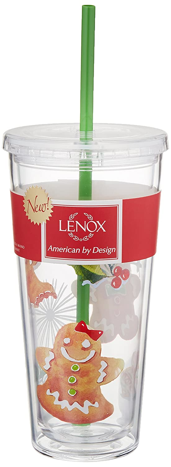 Multicolor 865920 Lenox Holiday Gingerbread Acrylic Tumbler with Straw