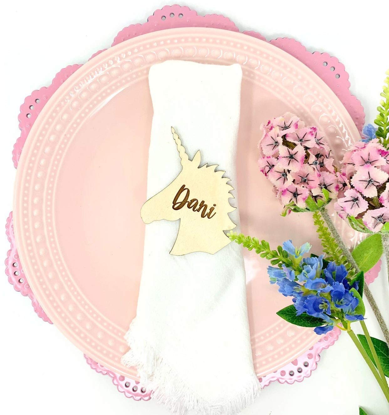 Amazon Com Unicorn Tag Place Card Name Tag Wooden Engraved Party