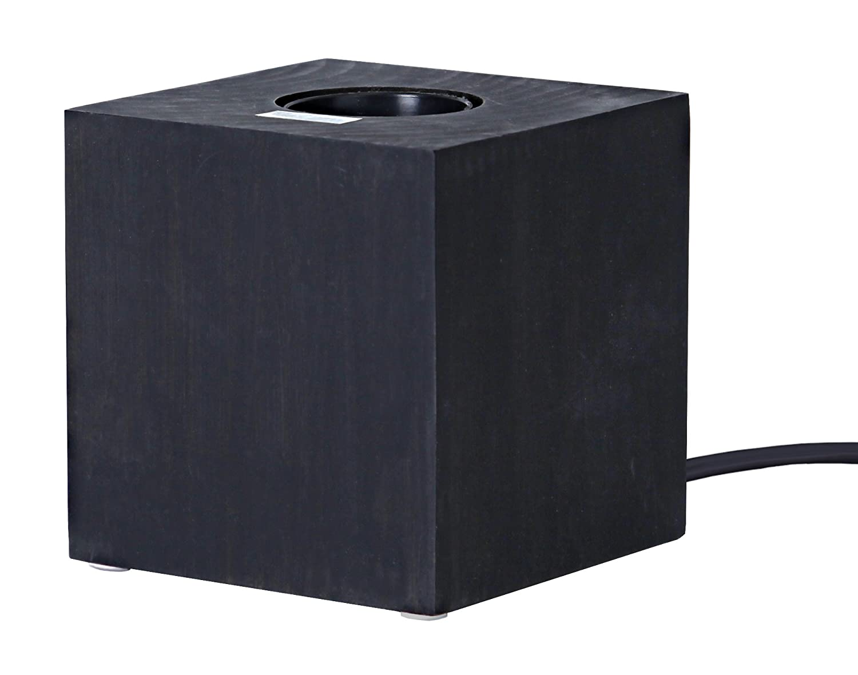 Holzleuchte Kub E27 Fassung Farbe: schwarz mit Schalter ca 9 cm x 9 cm Leuchtmittel nicht enthalten