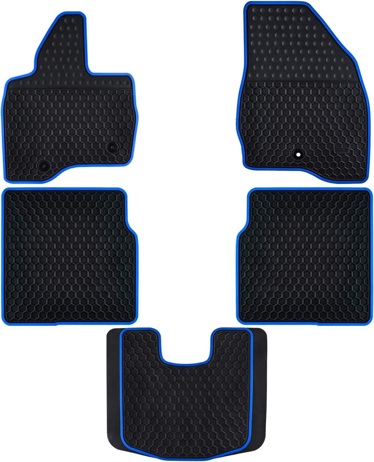 Ucaskin Car Floor Mats Custom Fit for Ford Explorer 2017 2018 2019 Odorless Washable Rubber Foot Carpet Heavy Duty Anti-Slip All Weather Protection Car Floor Liner-Blue