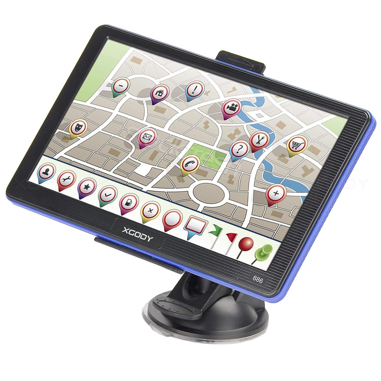 Navigatore satellitare GPS Xgody 886Bluetooth 17, 8cm 8GB ROM 256MB RAM touchscreen capacitivo auto camion navigatore satellitare con parasole sostegno Spoken Turn-by-Turn direzioni limite di velocità display preinstallato UK