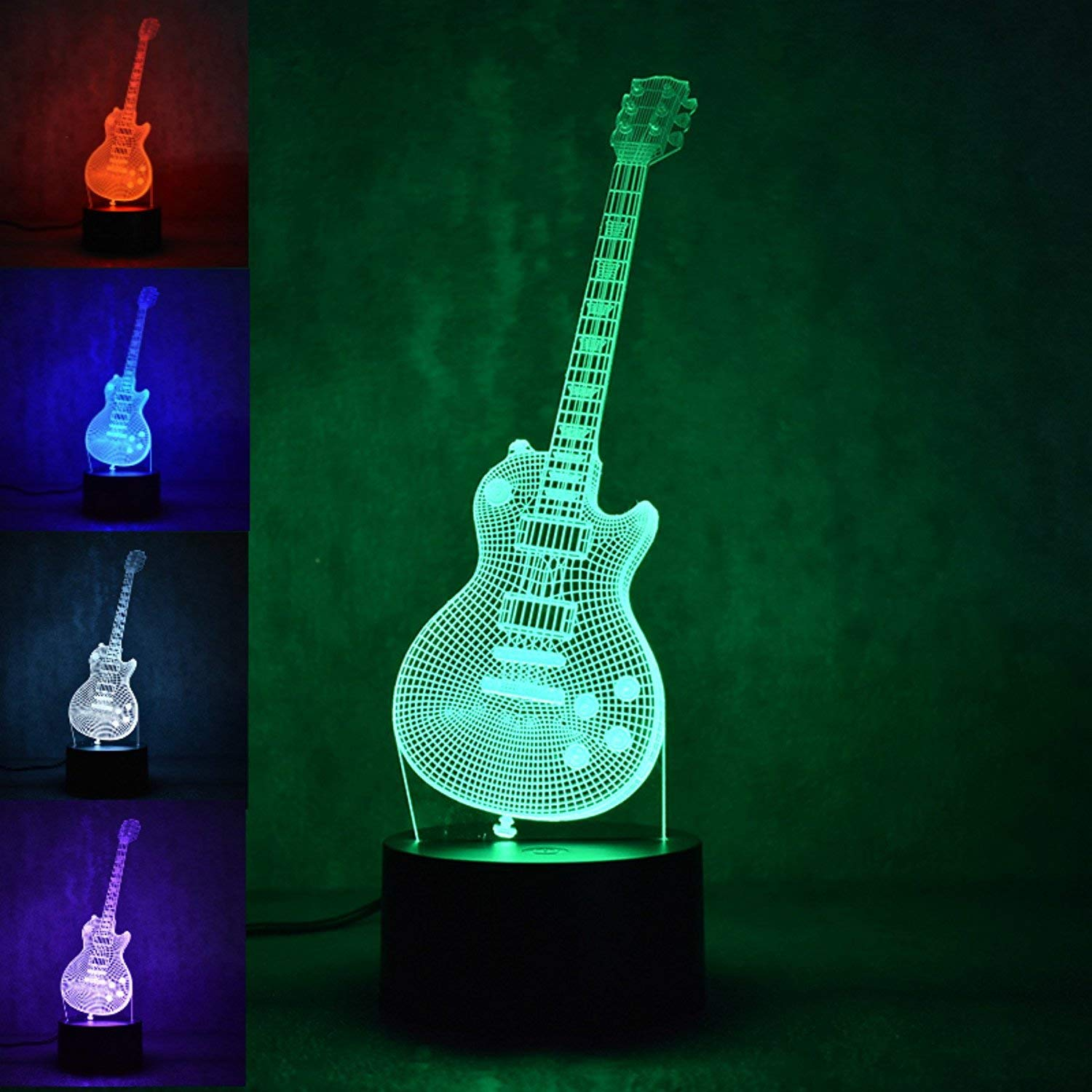 3D Music Electric Bass Guitar Night Light Lamp USB Touch Switch Decor Table Desk Optical Illusion Lamps 7 Color Changing Lights LED Table Lamp Xmas Home Love Brithday Children Kids Decor Toy Gift by MOLLY HIESON