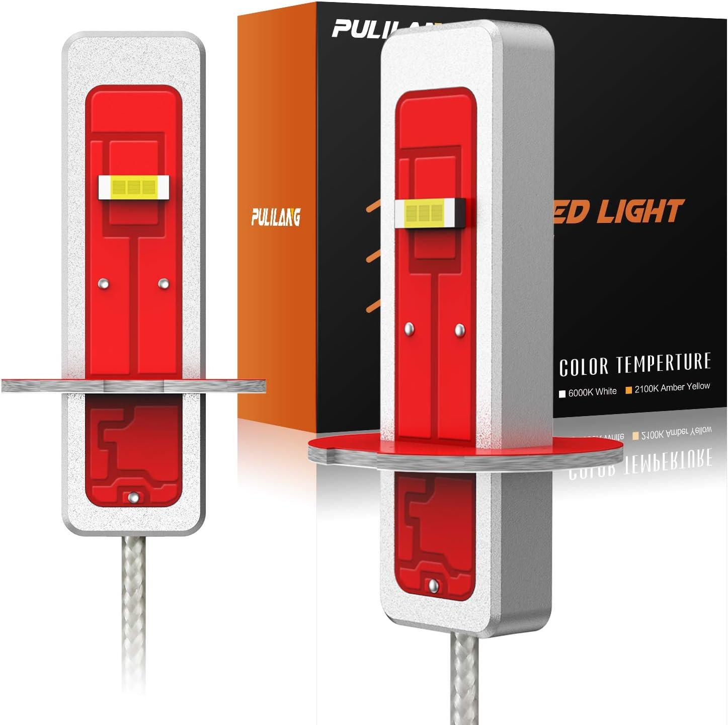 Pulilang Bombillas LED Antiniebla H3 CSP Chips 2100K Amarillas Ámbar Claro LED de Conducción Diurna Lámparas Antiniebla DRL- Para Reemplazo Halógeno, 12-24V Sin Polaridad 40W 5000LM, 2 Lámparas