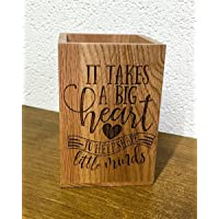 Personalised Engraved Wooden Pencil Pot - Teacher Gift - It takes a big heart