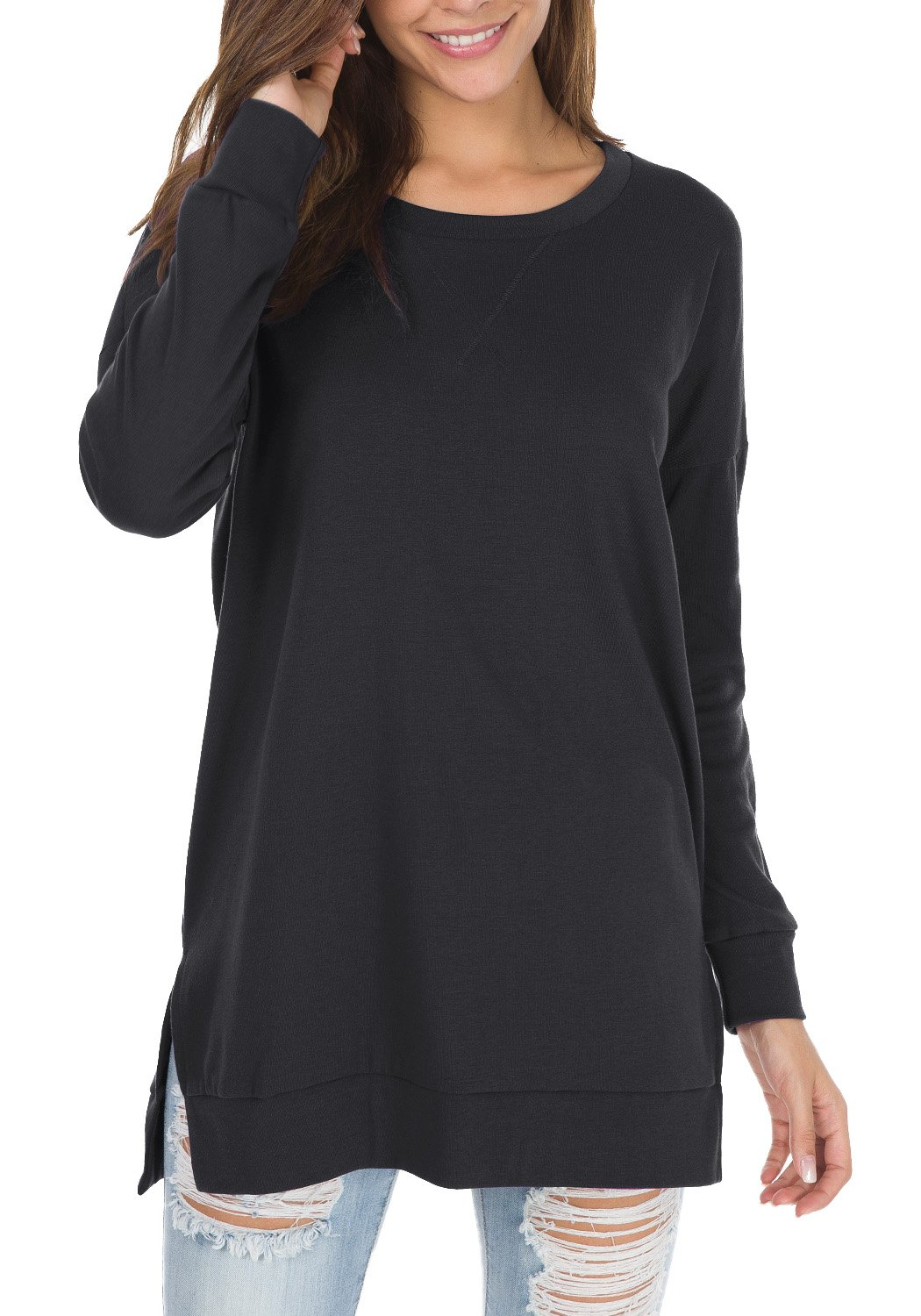 Womens Fall Long Sleeve Plus Pullover Side Split Loose Casual Tunic Tops Black M by levaca