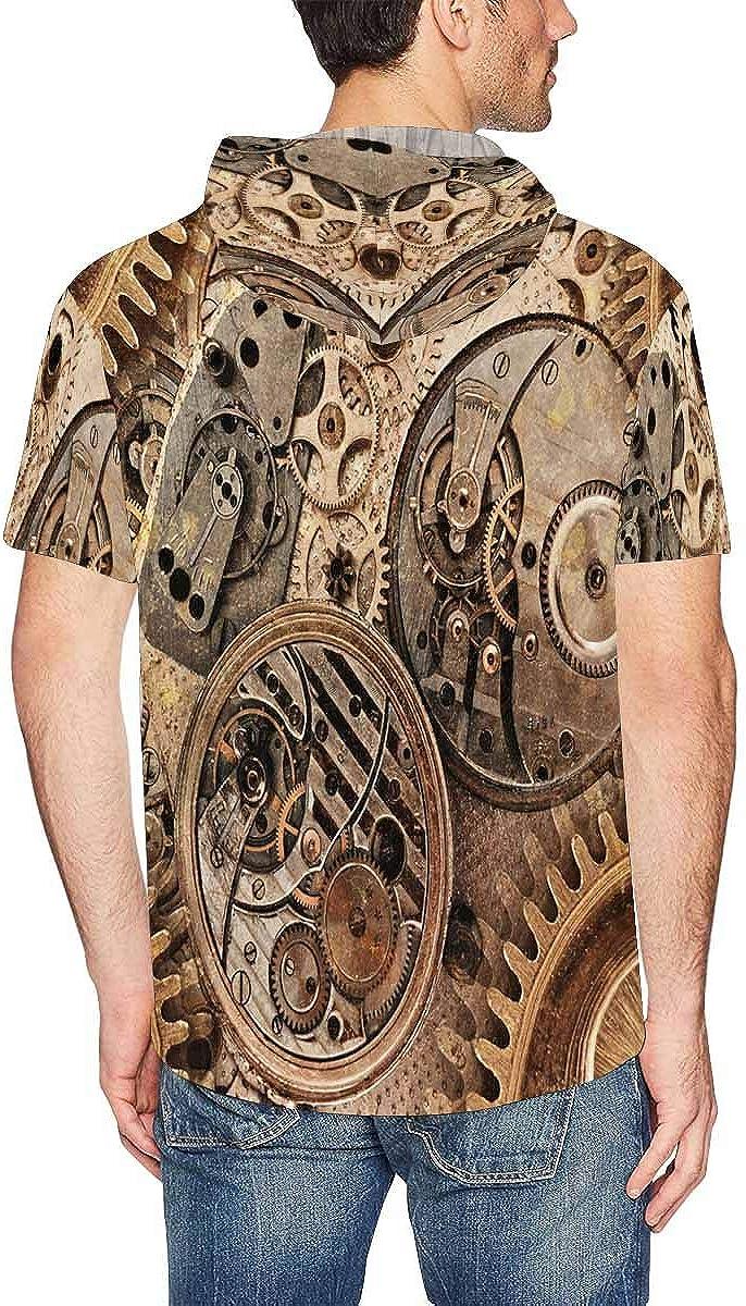 INTERESTPRINT Mens Hoodies Pullover Abstract Mechanical Device Lightweight Short Sleeve Shirts Tops XS-2XL