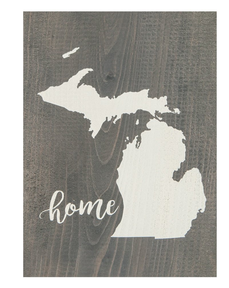 Michigan State Home Grey 5.5 x 7.5 Solid Wood Barnhouse Block Sign