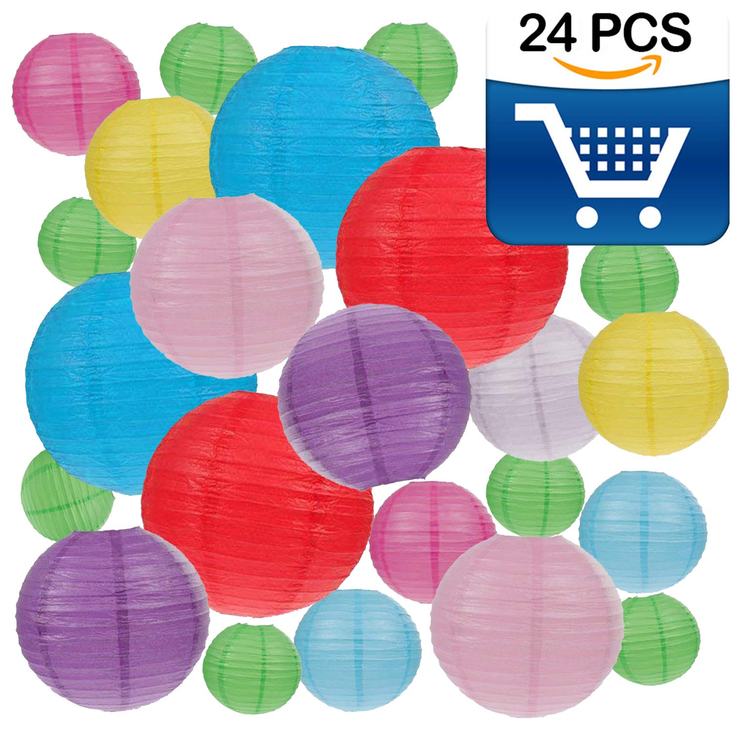 24 Packs Colorful Paper Lanterns Decorative with Assorted Sizes