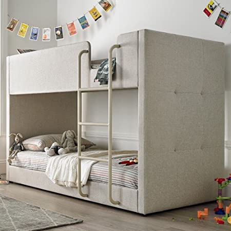 Happy Beds Saturn Bunk Bed Oatmeal Fabric Kids With 2 X Orthopaedic Mattress  3u0027 Single