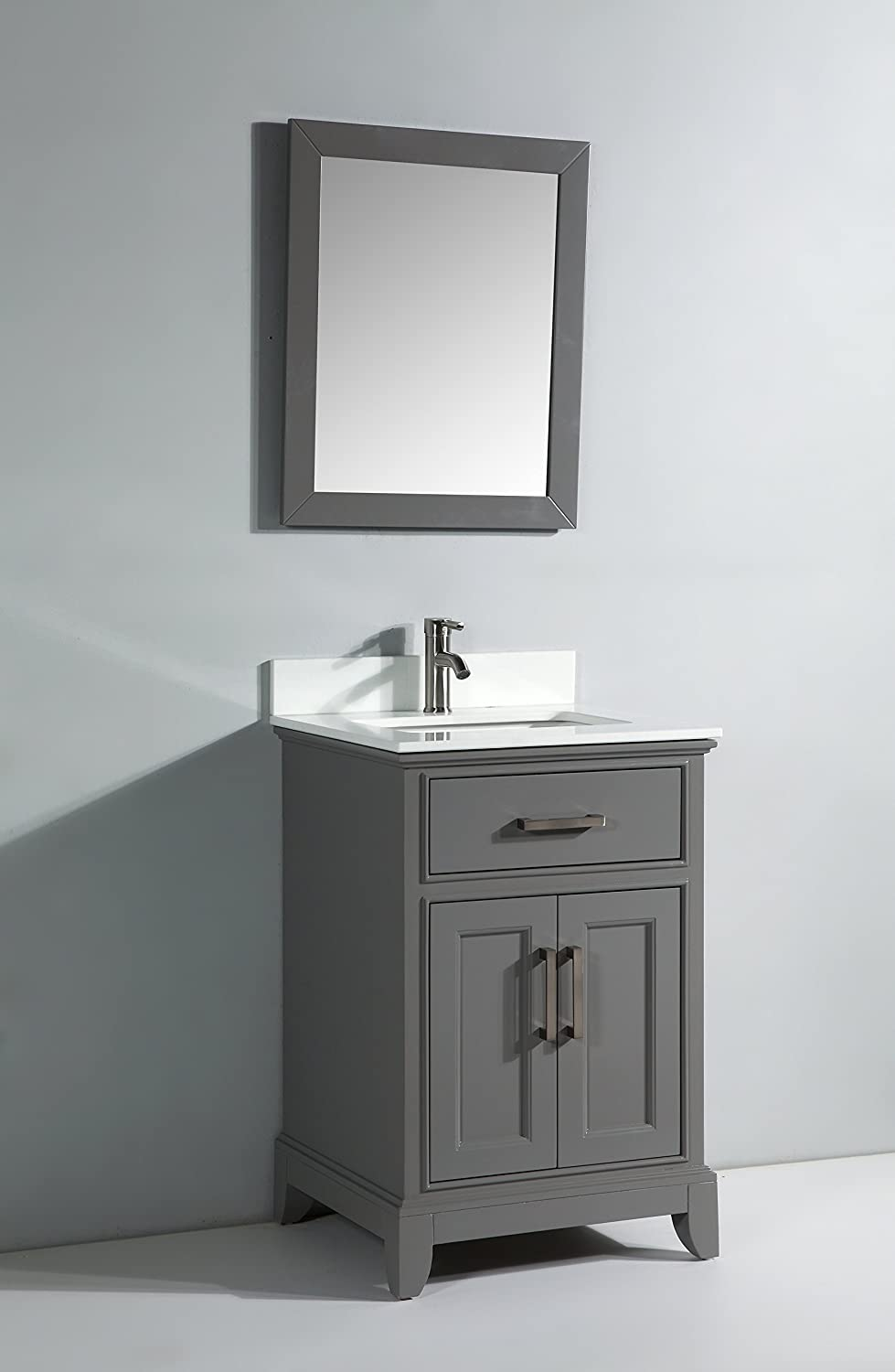 How to replace a bathroom faucet with lowe s 171 plumbing amp electric - Vanity Art 24 Inch Single Sink Bathroom Vanity Set With White Phoenix Stone Top Drain And Mirror Gray Amazon Com