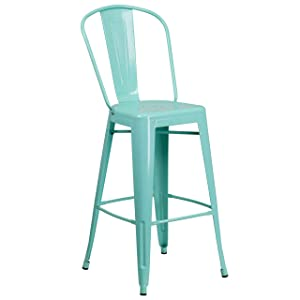 Flash Furniture 30'' High Mint Green Metal Indoor-Outdoor Barstool with Back