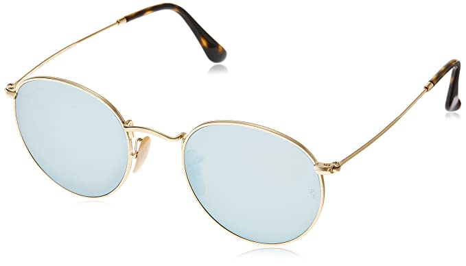 3bb3b763ffc Ray-Ban ROUND METAL - SHINY GOLD Frame GREY FLASH Lenses 47mm Non-Polarized