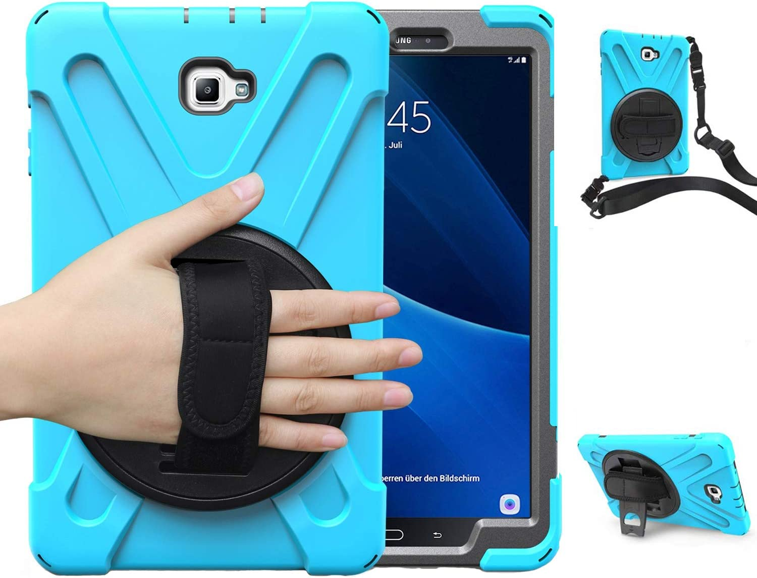 Case for Samsung Galaxy Tab A 10.1 2016, SM-T580/T585 Herize Three Layer Hybrid Rugged Heavy Duty Shockproof Protective Case with Hand Strap/Shoulder Strap for Samsung Tab A 10.1 Inch Tablet 2016