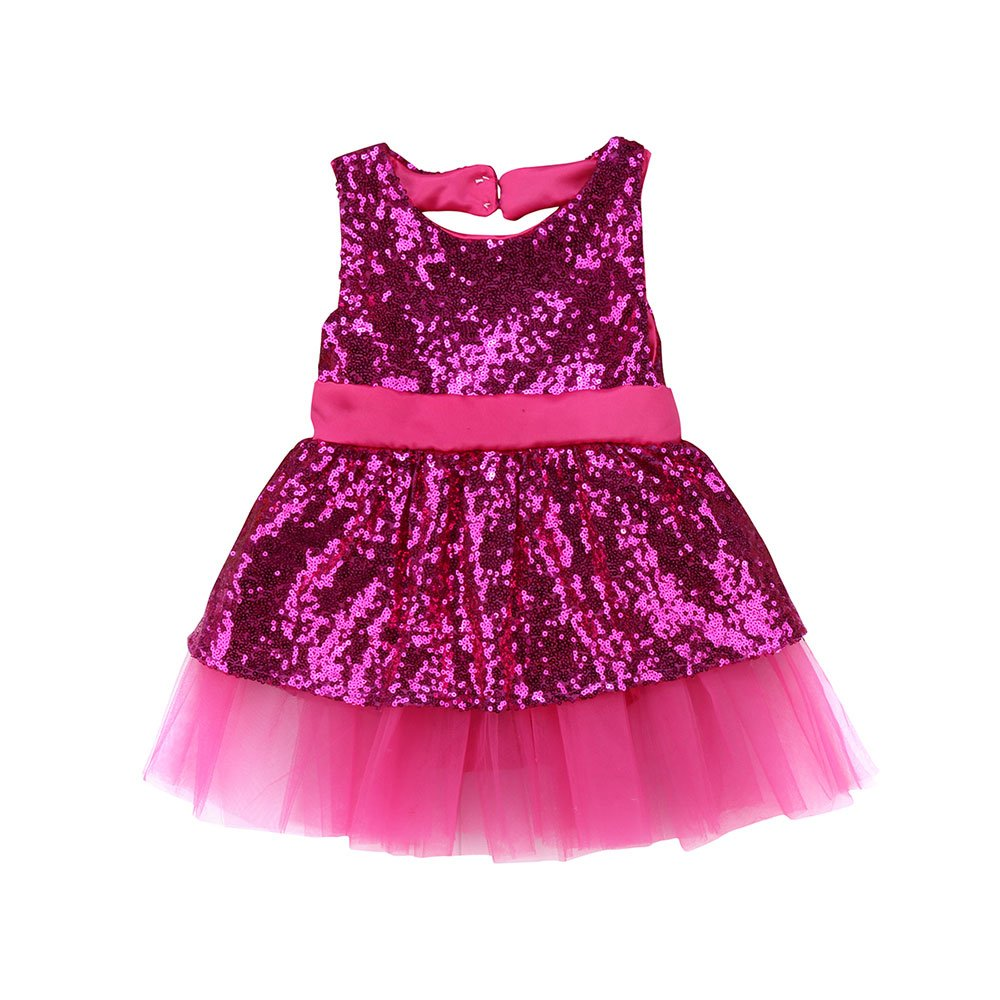 Genenic Baby Girls Sequins Bowknot Princess Dresses Party Pageant Tulle Dresses