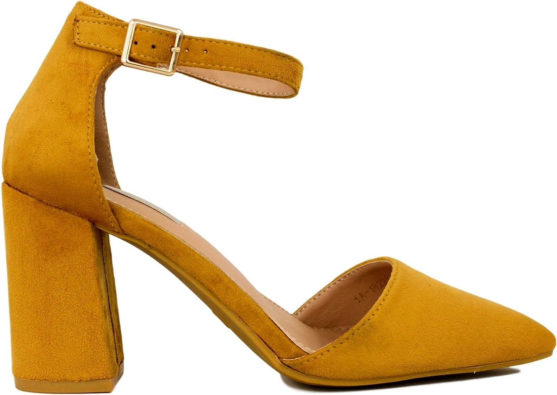 TALLA 41 EU. Zapato de Antelina con Puntera Cubierta. Tacón de 8.5 centímetros.