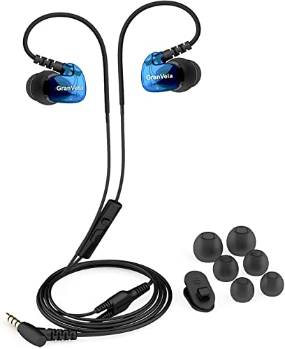 Granvela GV1 HD Classic Sports Earphones IPX5 Waterproof Running Earbuds Wired with Mic, Memory Wire Earhook and Clip – Blue