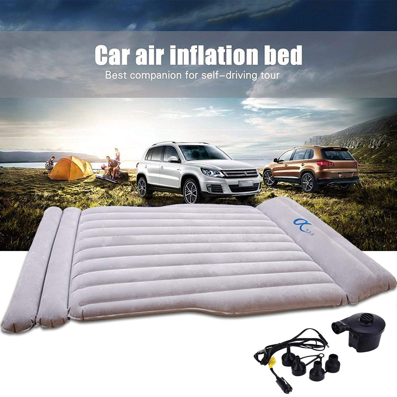 Universal SUV Air Mattress Thickened Car Bed Inflatable Home Air Mattress Portable Camping Outdoor Mattress Flocking Surface Fast Inflation