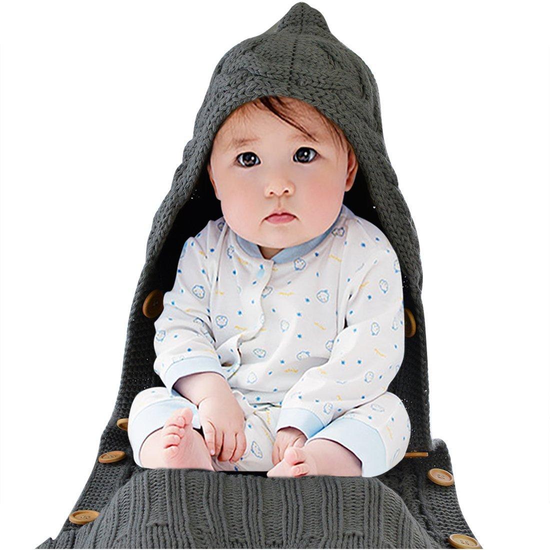 ニット新生児ベビーラップおくるみブランケットキッズ幼児用寝袋スリープサックベビーカーラップスリープSacksボタン0 – 6ヶ月 グレー 43224-14993  グレー B0777FLFJ1