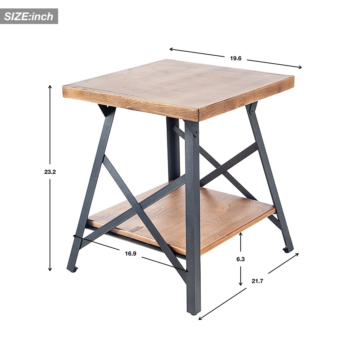Harper&Bright Designs End Table with Metal Legs, Living Room Set, Solid Wood, Rustic (Brown) by Harper&Bright Designs (Image #5)