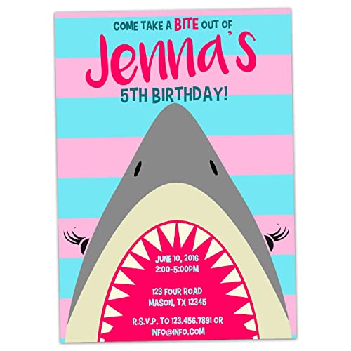 Amazon pink shark birthday invitations for girl party pool pink shark birthday invitations for girl party pool filmwisefo