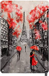 HOSNYE Oil Painting Paris Street Tin Sign Eiffel Tower Couple Under an Red Umbrella on Street Vintage Metal Tin Signs for Men Women Wall Art Decor for Home Bars Clubs Cafes 8x12 Inch
