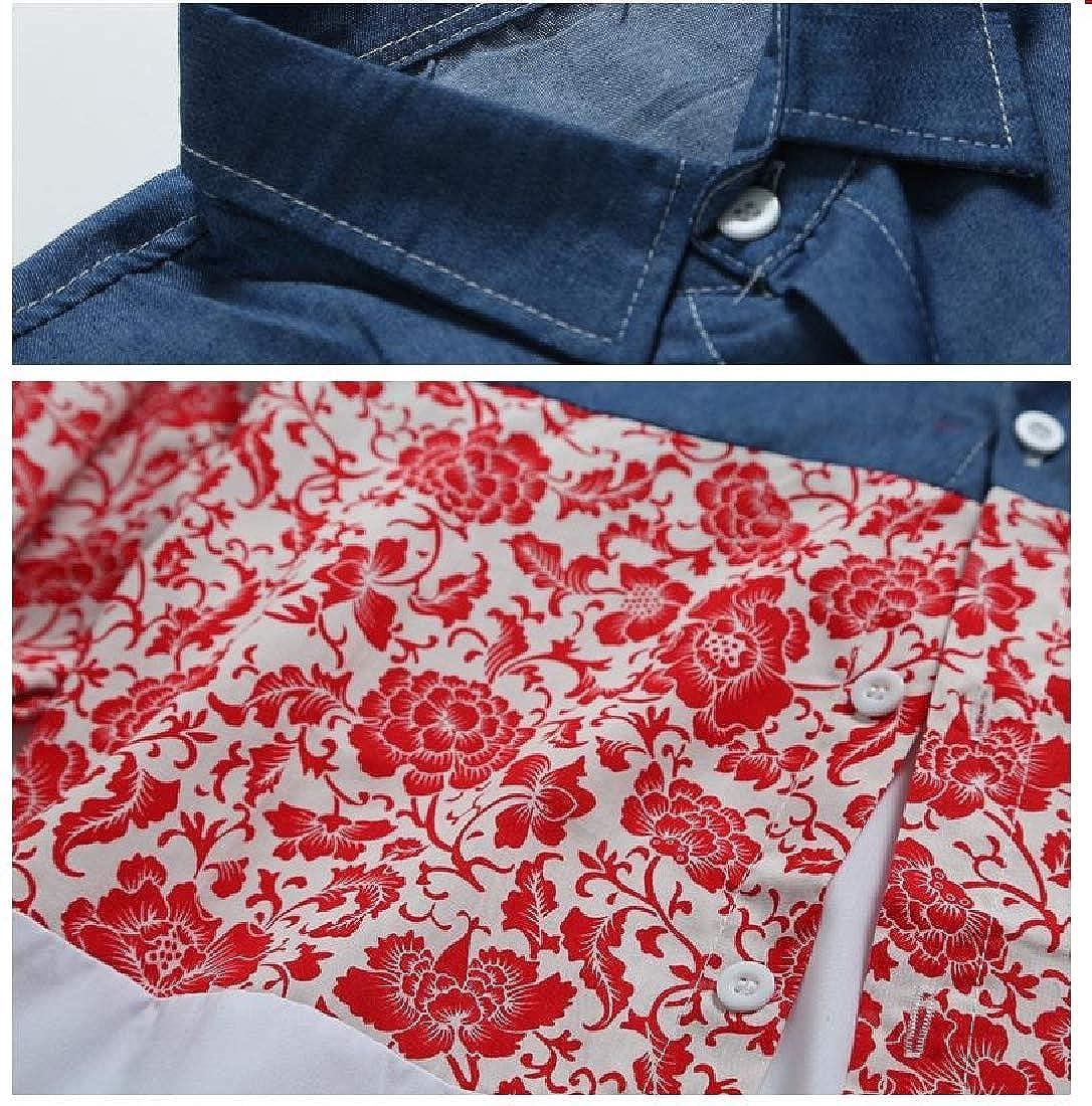 Vska Men Regular-Fit Oversized Flower Print Pocket Patched Dress Shirt