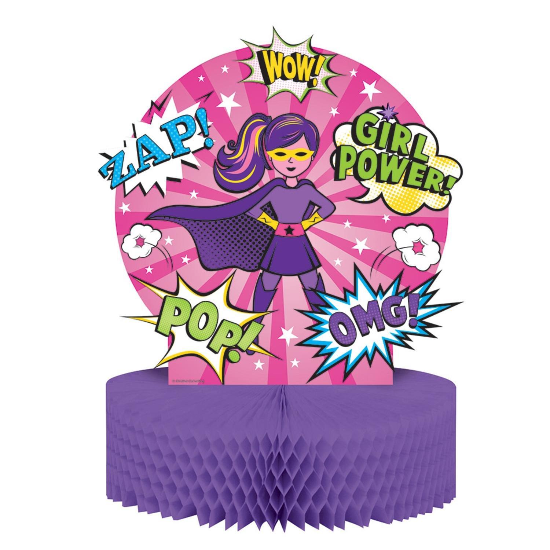 "Pack of 6 ""Girl Superhero'' Honeycomb Tissue Birthday Table Centerpieces 13''"