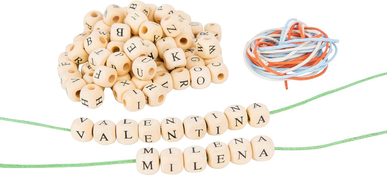 Small Foot 10713 dados de letras de madera natural para roscar, cintas de diferentes colores, fomenta la creatividad y enseña la ortografía , color/modelo surtido