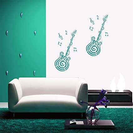 Kayra Decor Guitar Reusable Wall Stencil for Wall Decor/DIY Painting Stencil/Durable Than Wall Stickers in (16 X 24) Inches (Plastic Sheet), Clear