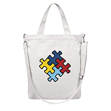 acdee4a4b4a4 Amazon.com: Channel Five World Autism Awareness Day Canvas Beach Bag ...
