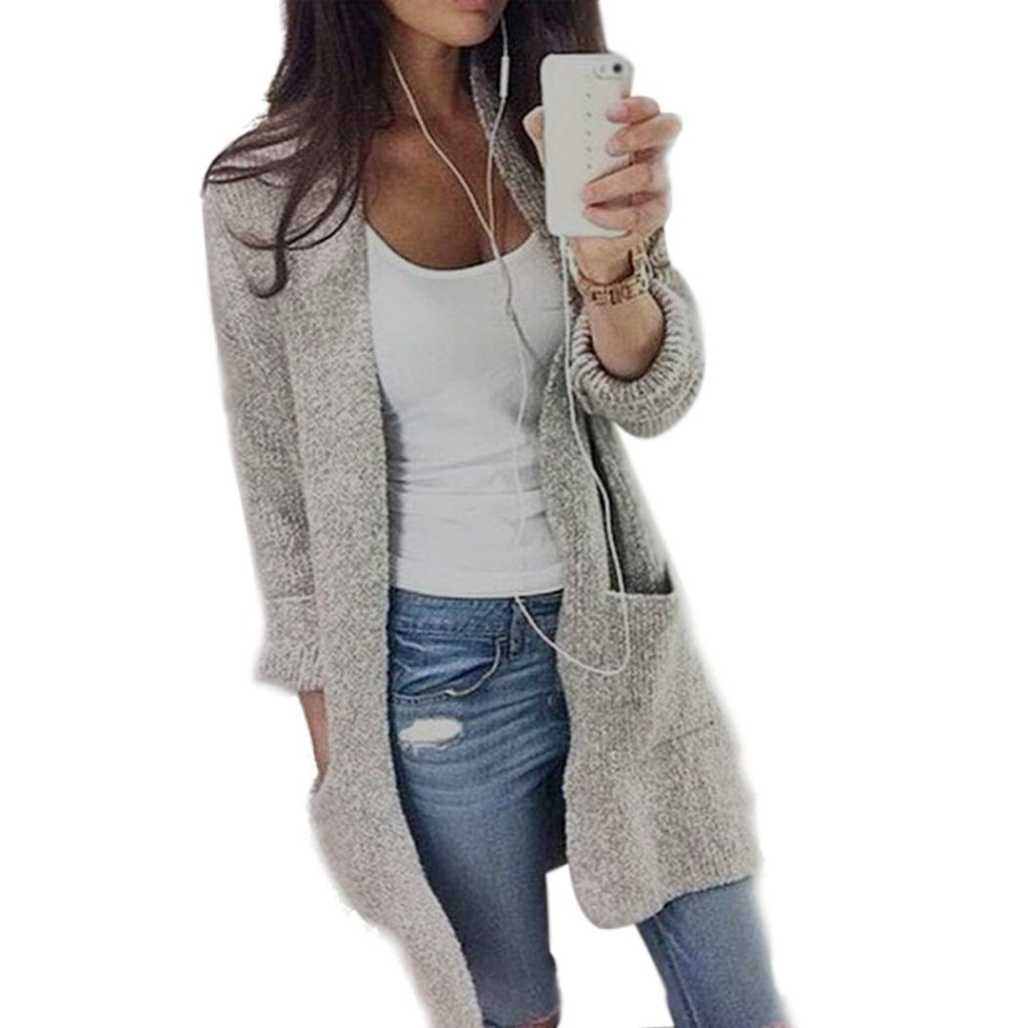 GOLDSTITCH Women's Long Sleeve Open Front Warm Cardigans Pullover Sweater Blouses