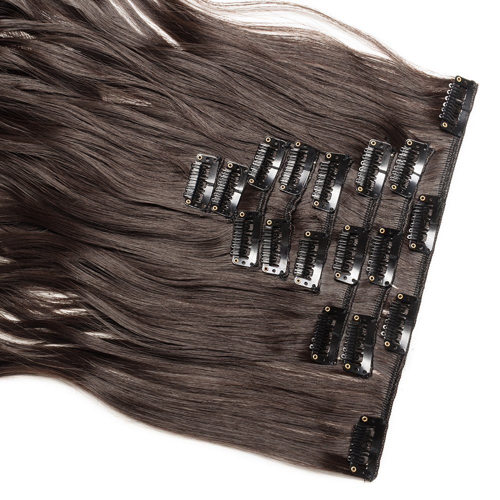 Clip in Hair Extensions Synthetic Full Head Charming Hairpieces Thick Long Straight 8pcs 18clips for Women Girls Lady (24 inches-wavy, dark brown) by Beauti-gant (Image #5)