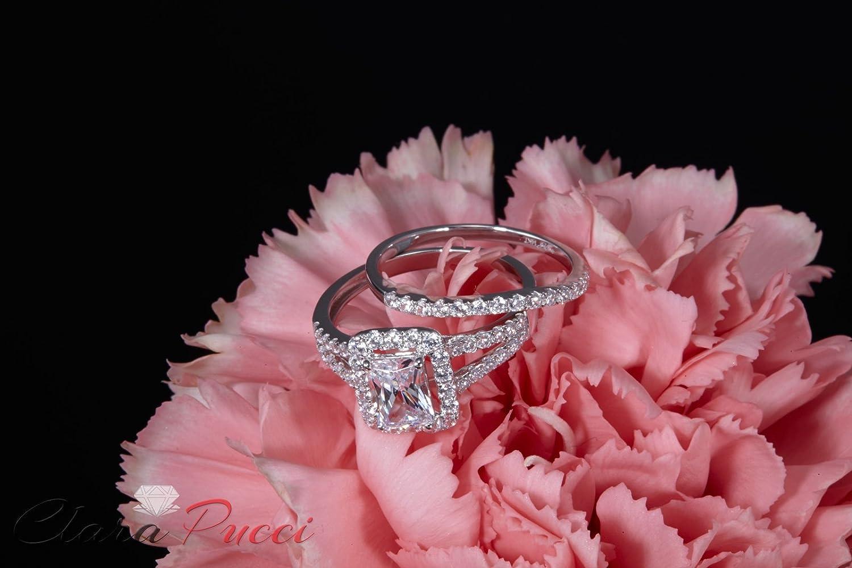 Amazon.com: 1.60ct Emerald Cut Pave Halo Bridal Engagement Wedding ...