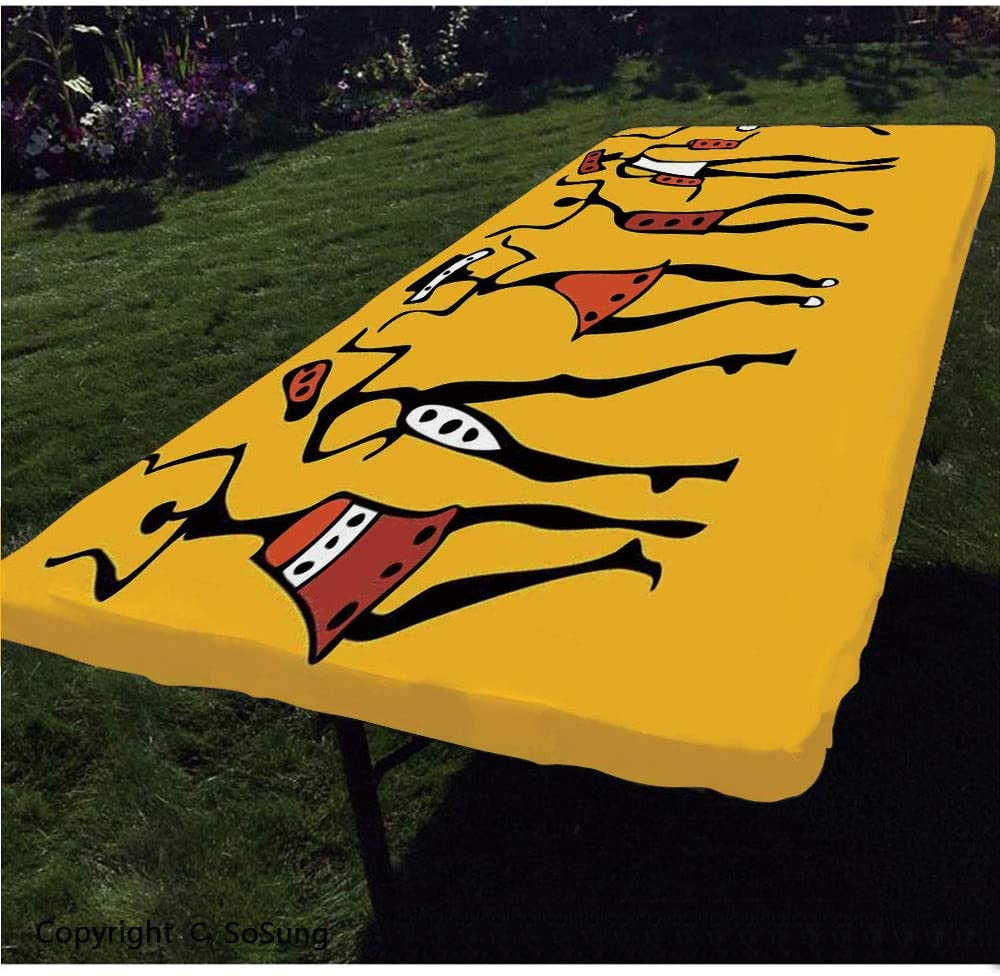 "Afro Decor Polyester Fitted Tablecloth,African Dancers Sketchy Characters Ethnic Group Clan Disco Happy Graphic Rectangular Elastic Edge Fitted Table Cover,Fits Rectangular Tables 96x36"" Mustard Orang"