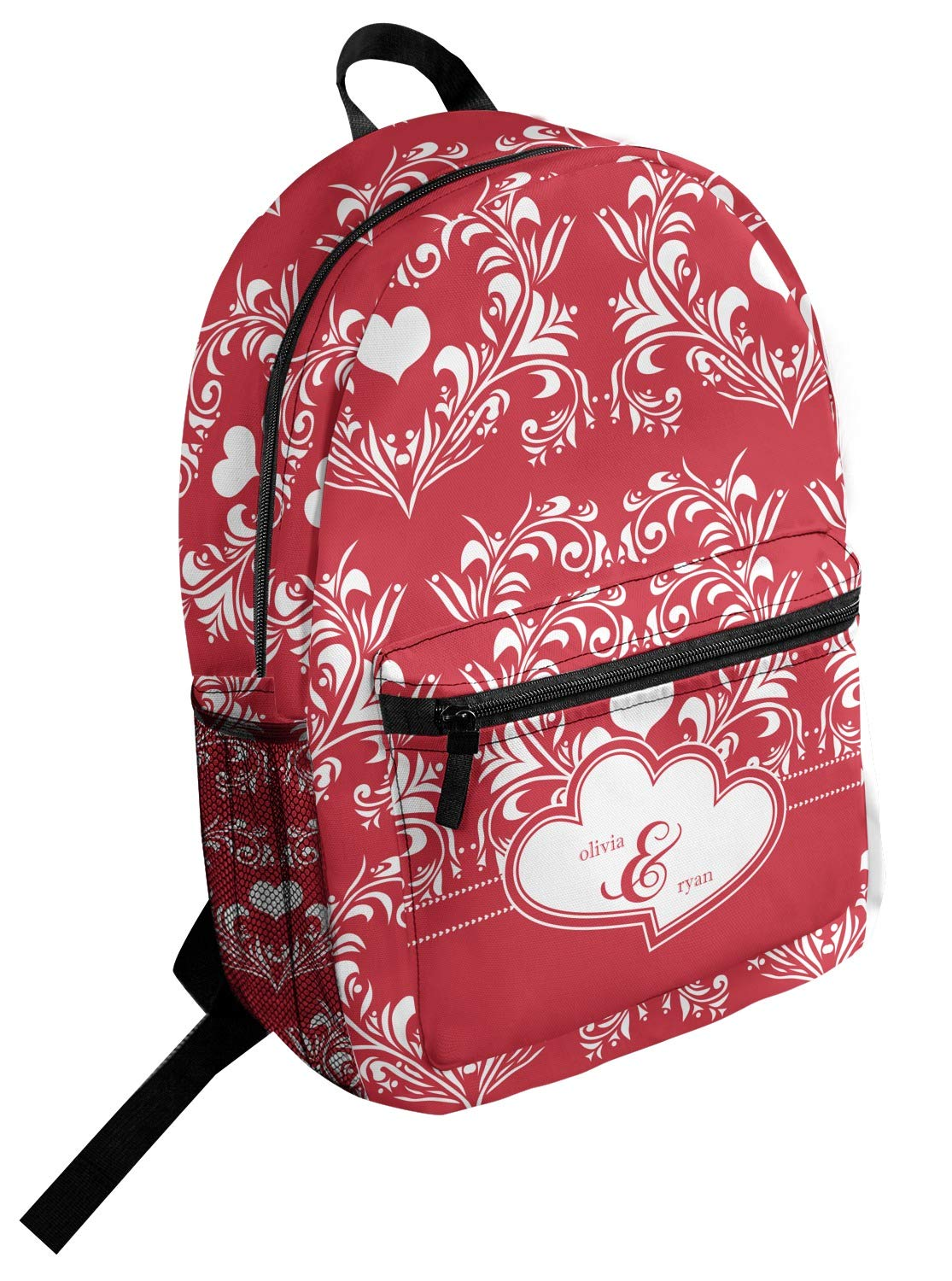 Heart Damask Student Backpack Personalized