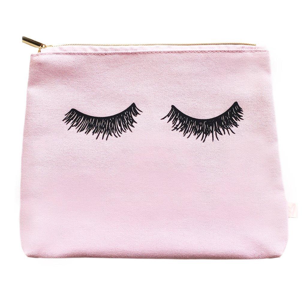 Pink Eyelashes Makeup Bag | Make Up Bag Toiletry Bag Pencil Case Travel Organizer Cosmetic Bag Bridesmaid Gift for Her Canvas Bride Gift