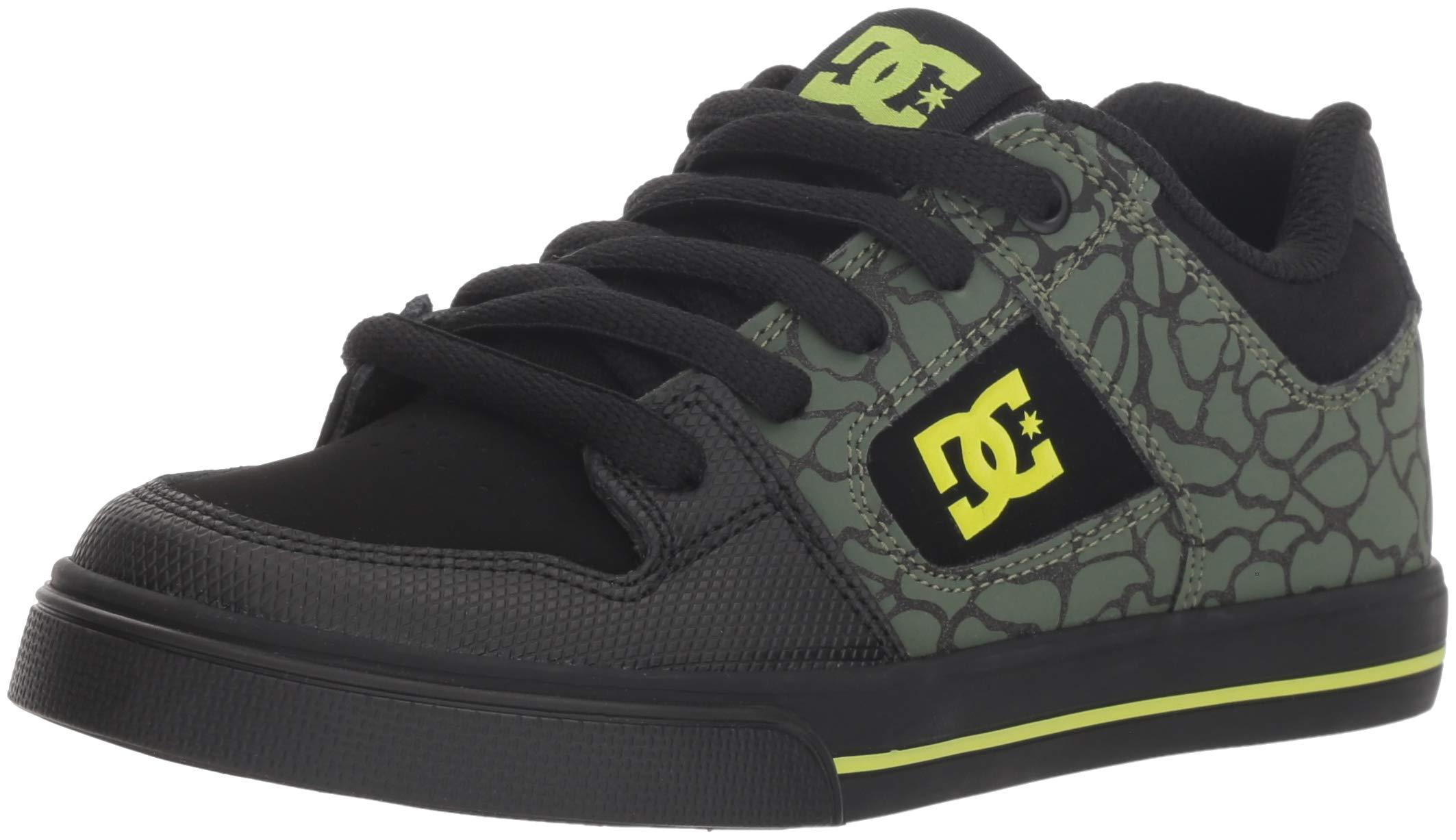 DC Boys' Pure SE Skate Shoe, Black/Soft Lime, 11 M US Little Kid