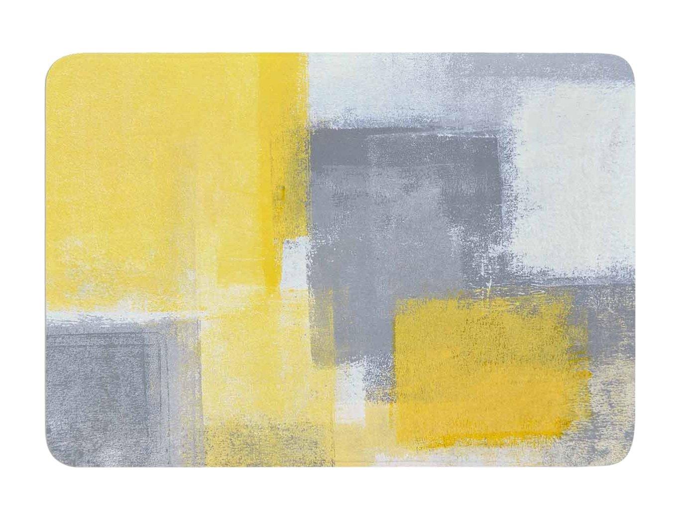 Kess InHouse Carollynn TICE Steady Yellow Gray Memory Foam Bath Mat, 17 by 24-Inch, 17' X 24'