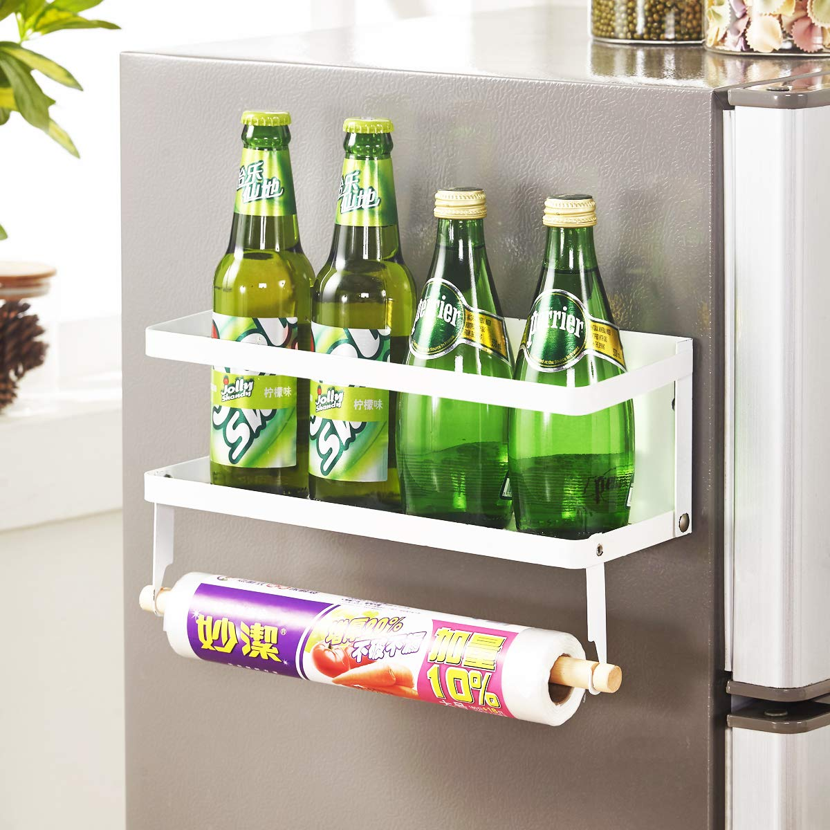 wengshilin Multiuse Magnetic Fridge Washing Machine Organizer Side Shelf with Paper Towel Holder, Foldable Design, White Color (1 Layer,Big Size)
