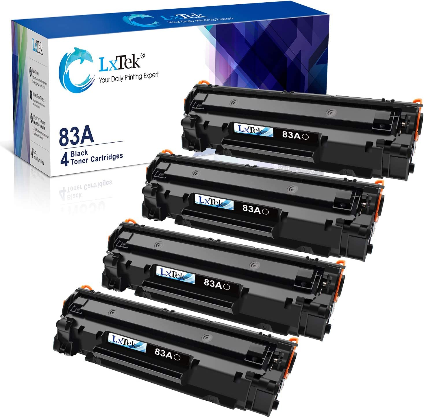 LxTek Compatible Toner Cartridge Replacement for HP 83A CF283A to use with Laserjet Pro MFP M125nw M201dw M225dw M201n M125a M127fn M127fw, 4 Black