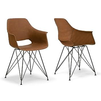 Amazon.com: Alora - Juego de 2 sillas de brazo con patas de ...