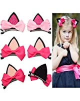 CellElection Cute Baby Cat Ears Hair Bows 4pcs Hair Clips Hairpins for Girls Toddlers