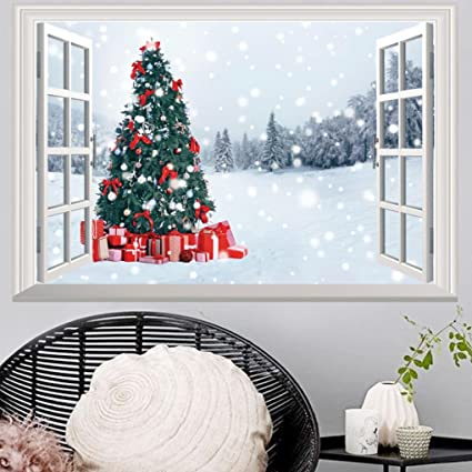 highpot 3d fake windows wall stickers removable faux windows wall decal christmas wall sticker b - Christmas Wall Decal