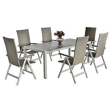 Salon de jardin résine tressé 1 table + 6 chaises pliables structure ...