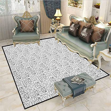 Amazon Com Tea Party Children Play Princess Room Decor Rug Doodle Drawing Monochrome Tableware Pattern With Biscuits And More Quote Carpet Comfy Bedroom Home Decorate Floor Kids Playing Mat Grey White Kitchen