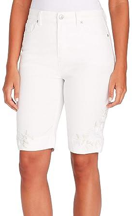 3ae3292a06 GLORIA VANDERBILT Petite Amanda Rose Hem Bermuda Shorts at Amazon Women's  Clothing store: