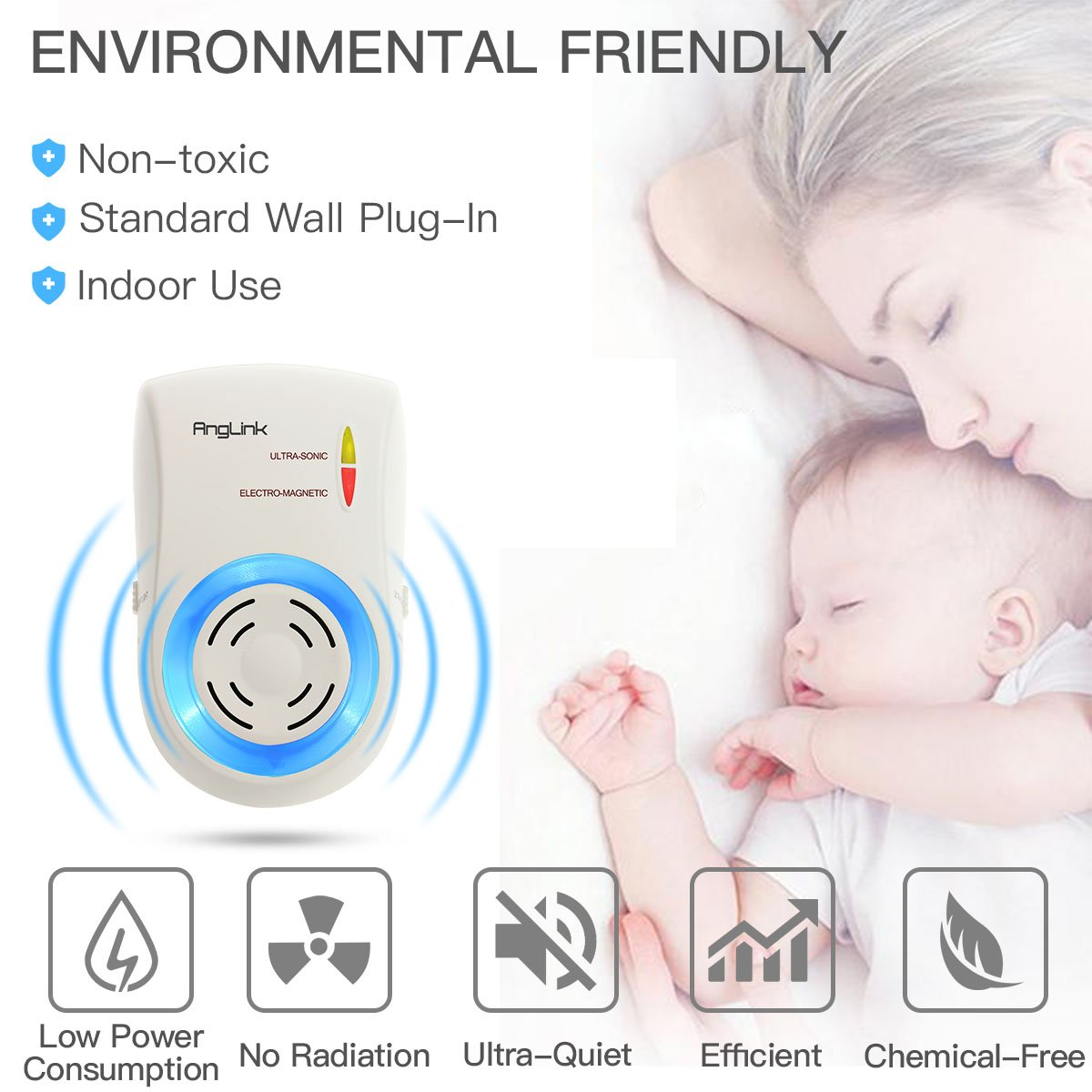 Anglink 2 Paquetes Repelente Electrónico De Ultrasonidos De Control