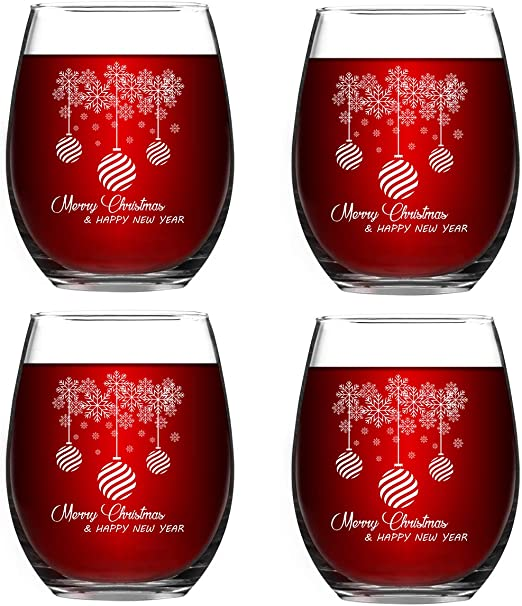Amazon Com Merry Christmas Stemless Wine Glass Set For Women Friends Christmas Idea For Mom Wife Girlfriend Sister Wedding Birthday Party Set Of 4 Wine Glasses