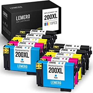 LEMERO Remanufactured Ink Cartridge Replacement for Epson 200XL 200 XL T200XL for Expression Home XP-410 XP-400 XP-310 XP-200 WF-2540 WF-2530 (4 Black 2 Cyan 2 Magenta 2 Yellow, 10 Pack)
