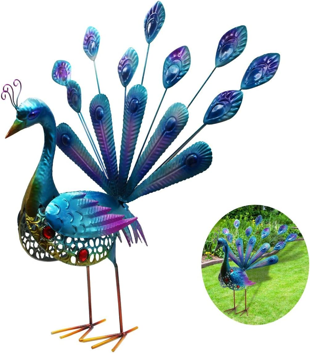 Peacock Garden Statues and Figurines, WOLUNWO Beautiful Garden Decorations Outdoor, Garden Statues Animals with Metal Feet Stakes 20 Inches, Indoor/Outdoor Sculpture for Patio, Yard or Lawn